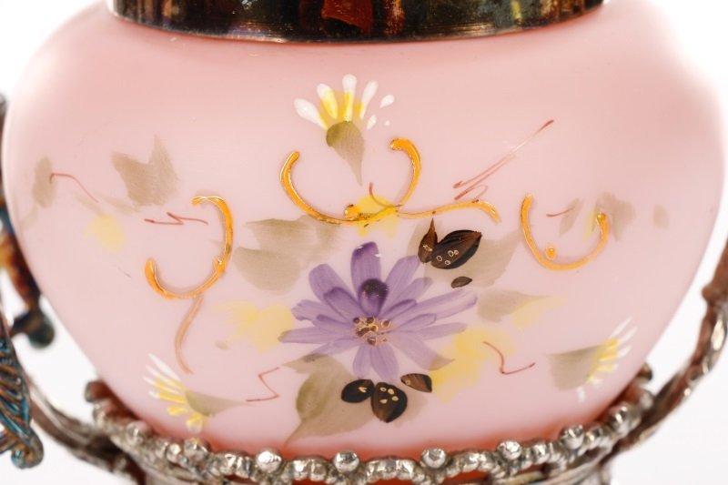 Victorian Silver & Pink Satin Glass Pickle Castor - 2