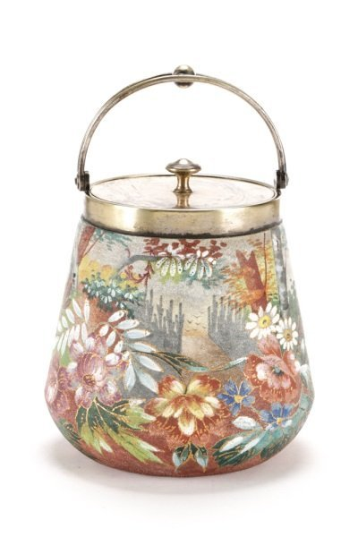 WMF Silver & Tapestry Ware Painted Biscuit Barrel