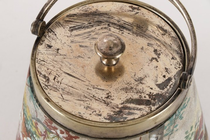 WMF Silver & Tapestry Ware Painted Biscuit Barrel - 6