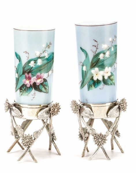 Pair of Victorian Glass Vases in Silver Stands