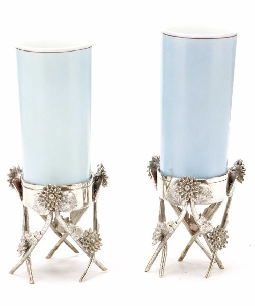 Pair of Victorian Glass Vases in Silver Stands - 5