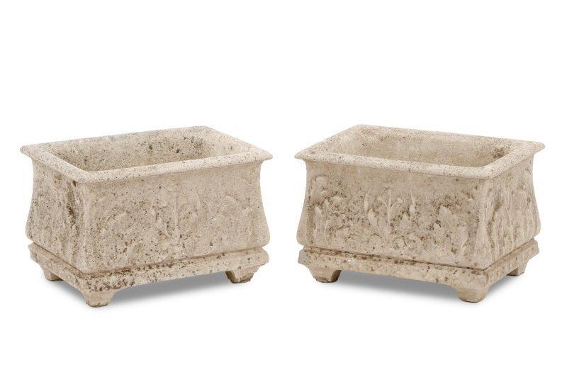 Pair, Continental Rectangular Cast Stone Planters