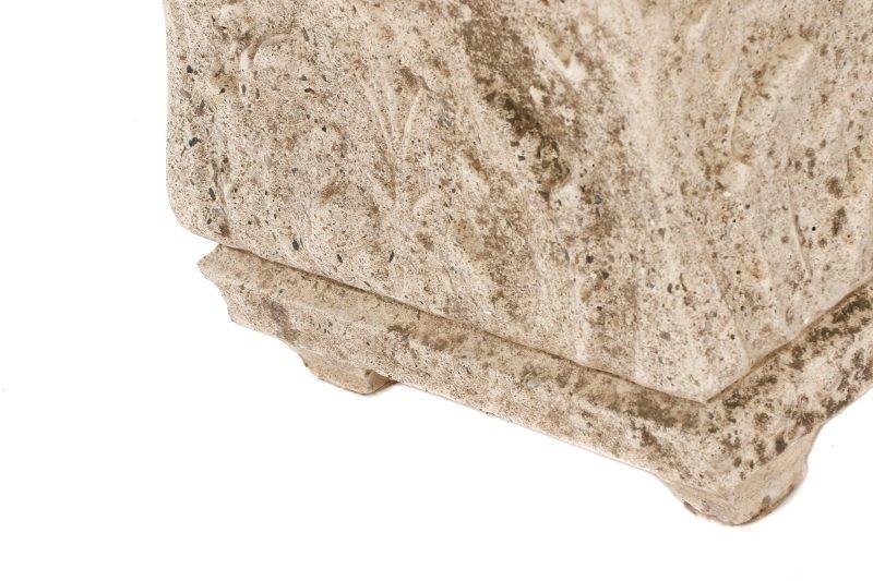Pair, Continental Rectangular Cast Stone Planters - 7