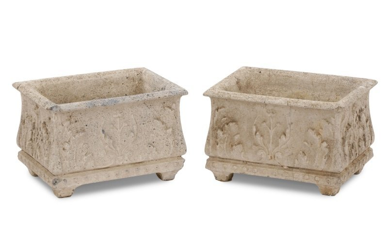 Pair, Continental Rectangular Cast Stone Planters - 8