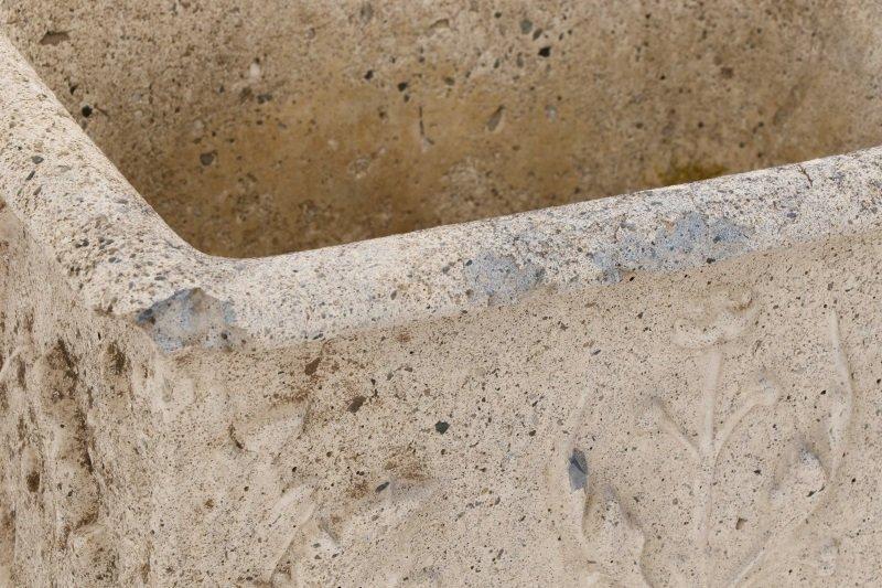 Pair, Continental Rectangular Cast Stone Planters - 9
