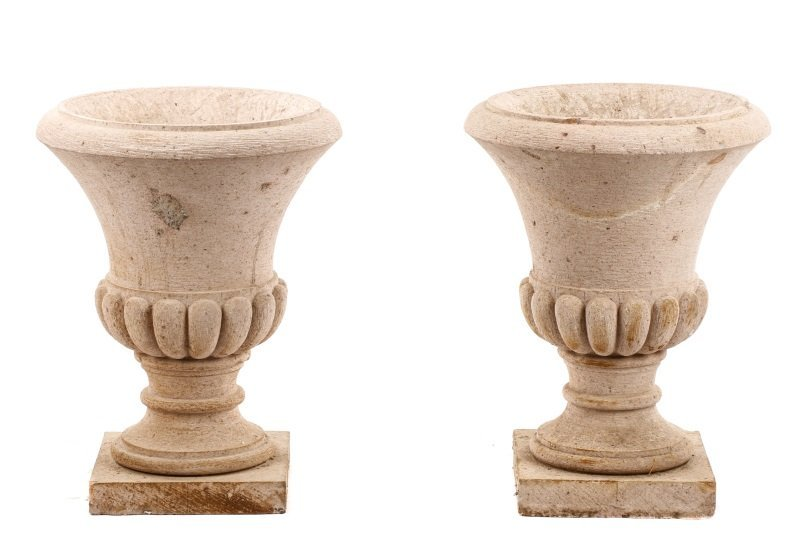 Pair of Campana Form Garden Urns