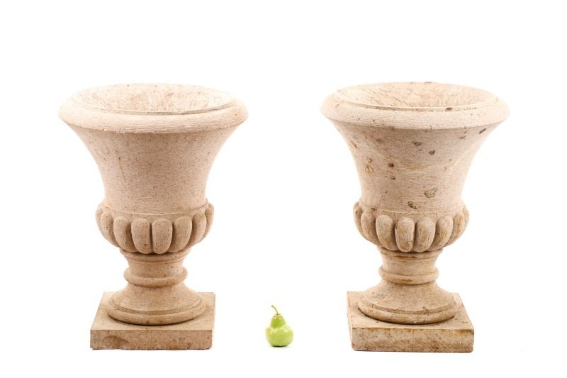 Pair of Campana Form Garden Urns - 9