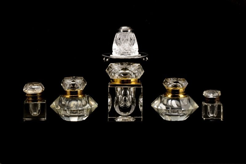 Group of 6 Brass & Silver Mounted Glass Inkwells