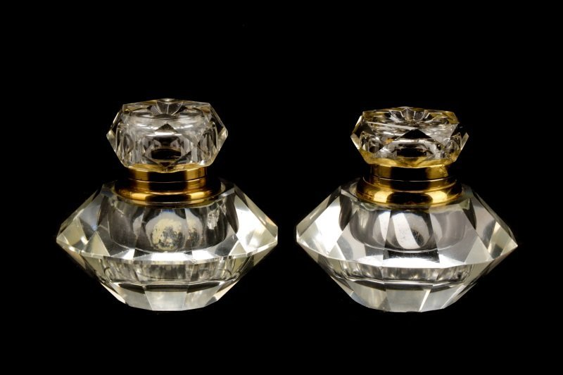 Group of 6 Brass & Silver Mounted Glass Inkwells - 4