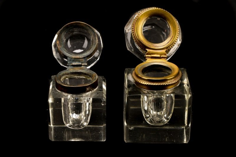 Group of 6 Brass & Silver Mounted Glass Inkwells - 5