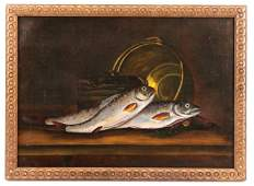 """American, """"The Day's Catch"""", Oil on Canvas"""