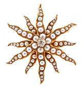 14k Gold Pearl  Diamond Brooch Late 19th C