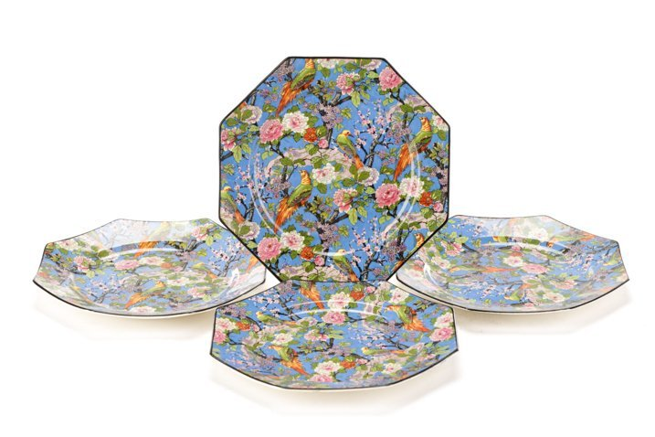 Set of 4 Crown Ducal Blue Chintz Bird Plates