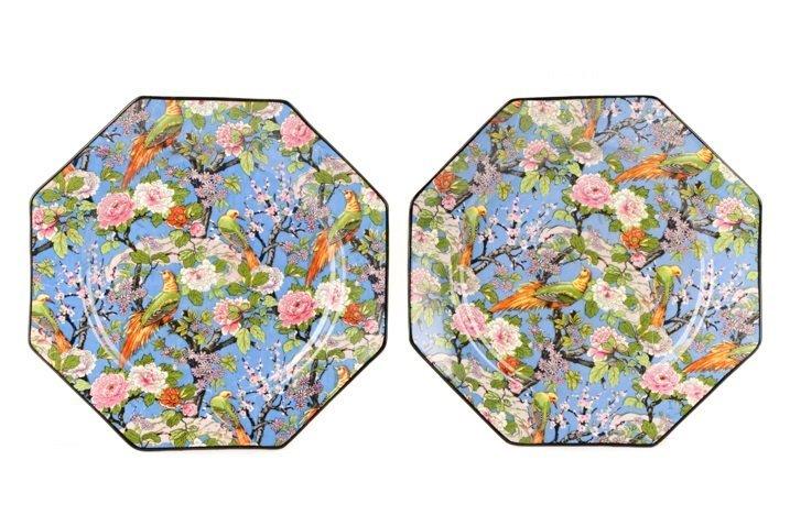 Set of 4 Crown Ducal Blue Chintz Bird Plates - 2