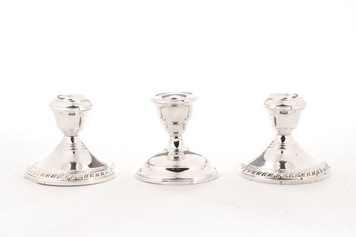 Group of 3 Sterling Weighted Candlestick Holders
