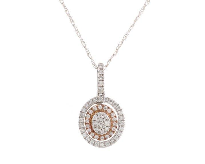 Ladies Oval 14K White & Rose Gold Diamond Necklace