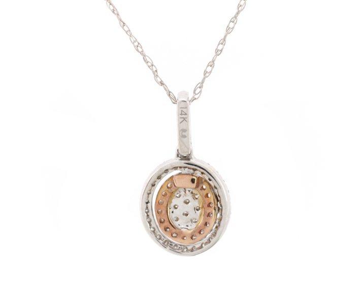 Ladies Oval 14K White & Rose Gold Diamond Necklace - 2
