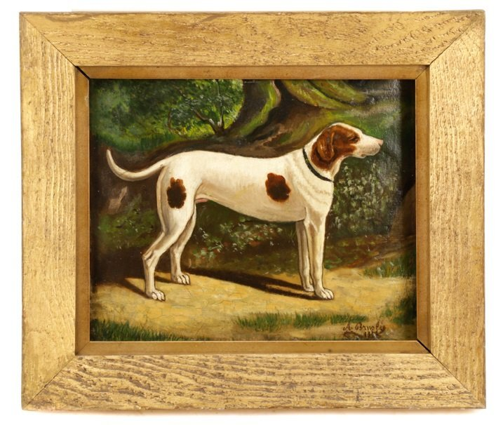 "British School, ""Hunting Dog"", Oil on Panel"