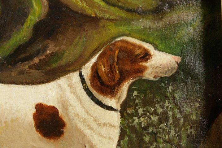 "British School, ""Hunting Dog"", Oil on Panel - 2"