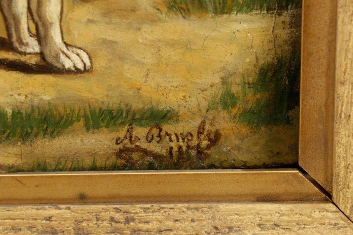 "British School, ""Hunting Dog"", Oil on Panel - 5"