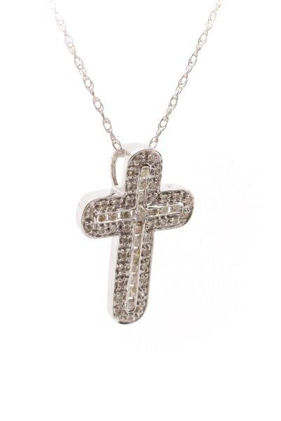 14k White Gold and Diamond Cross Pendant Necklace - 3