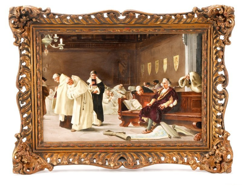 "Italian School, ""Catholic Mass"", Oil On Porcelain"