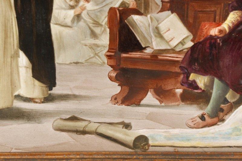"Italian School, ""Catholic Mass"", Oil On Porcelain - 7"