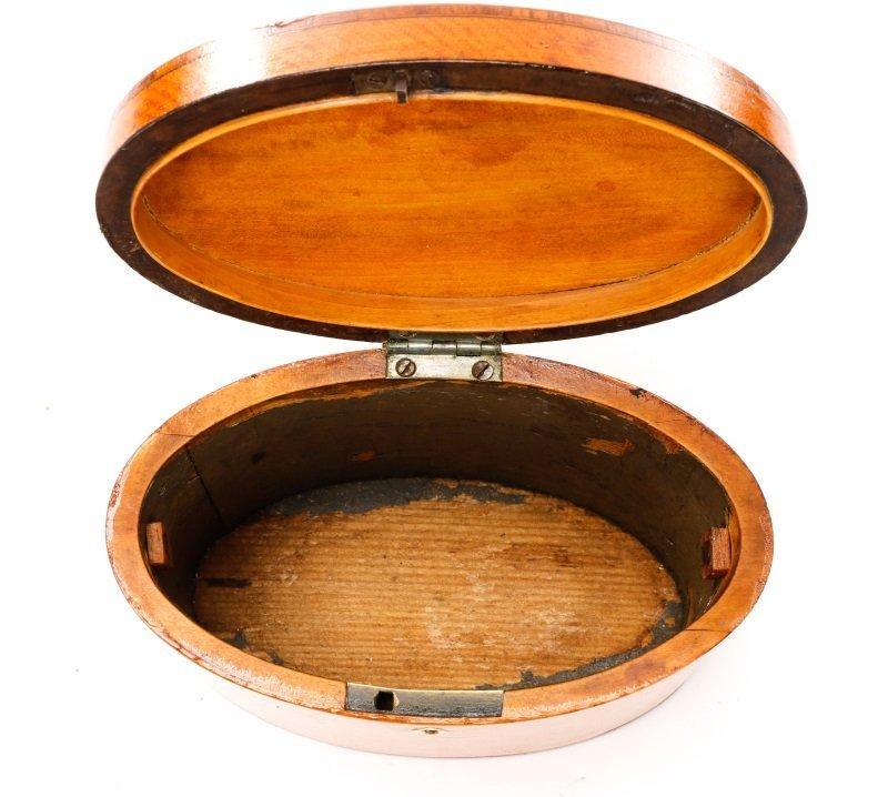 Oval George III Satinwood Shell Inlaid Tea Caddy - 4