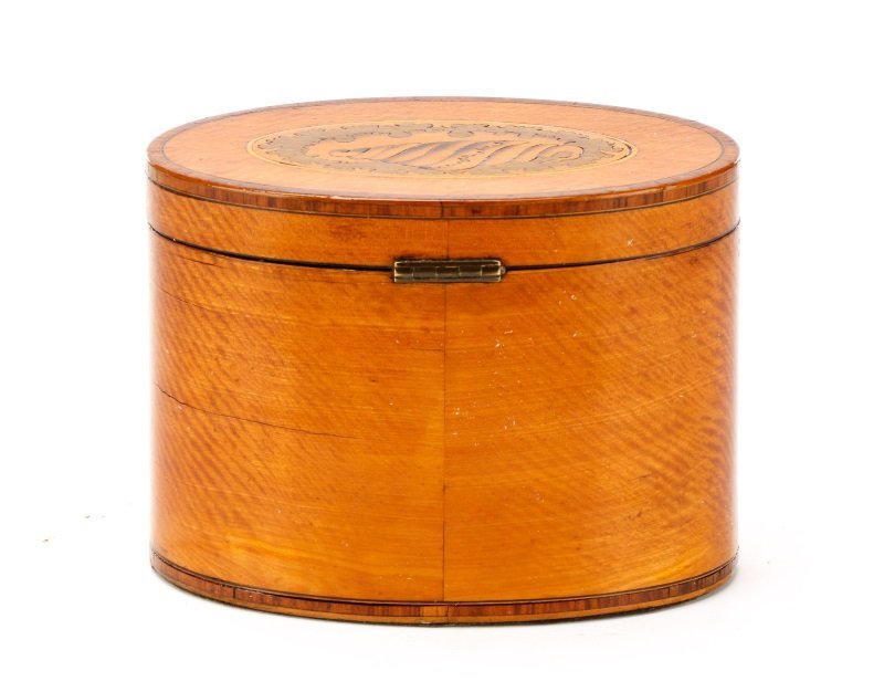 Oval George III Satinwood Shell Inlaid Tea Caddy - 5