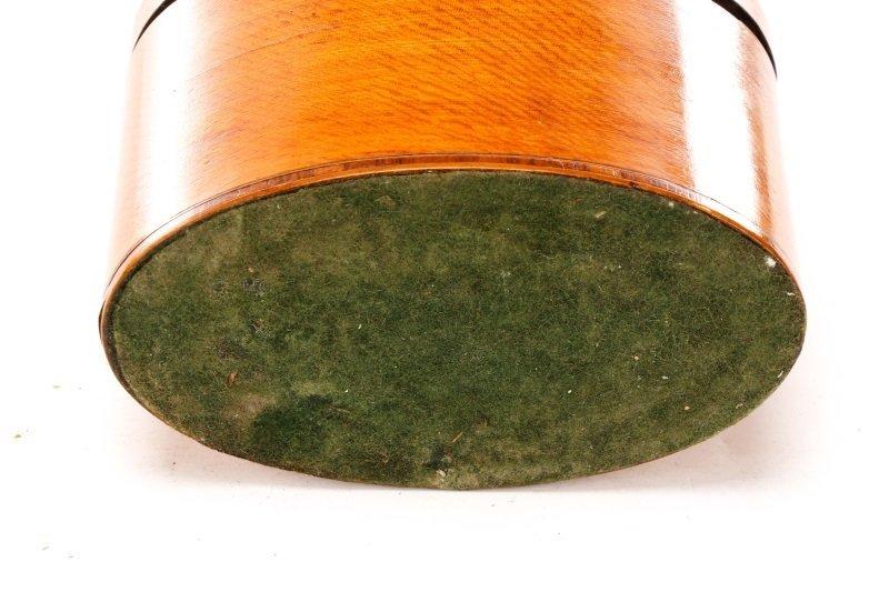 Oval George III Satinwood Shell Inlaid Tea Caddy - 6
