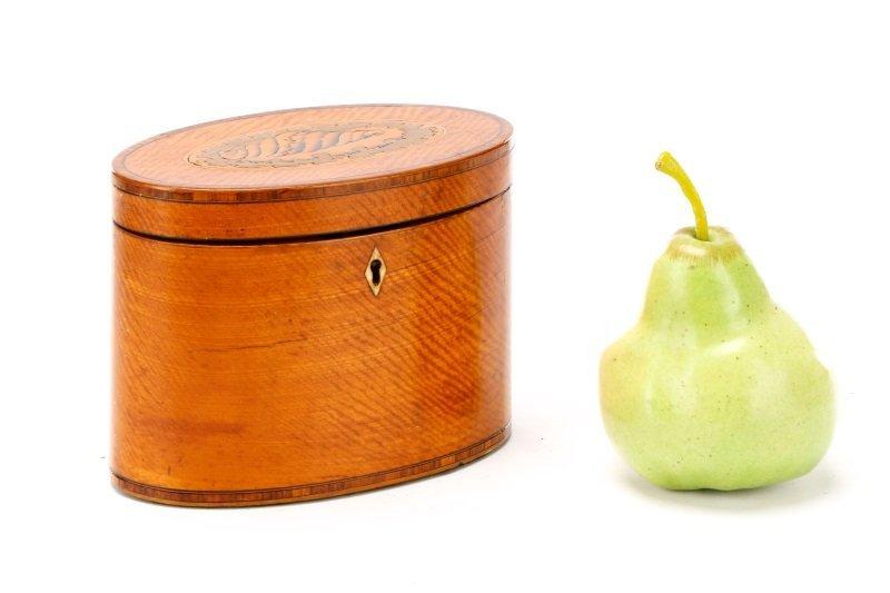 Oval George III Satinwood Shell Inlaid Tea Caddy - 7