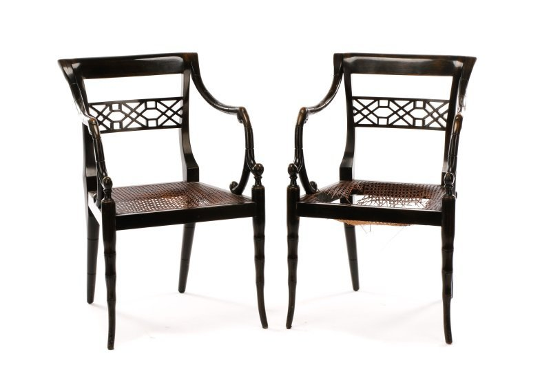 Pair of Regency Style Open Armchairs - 2
