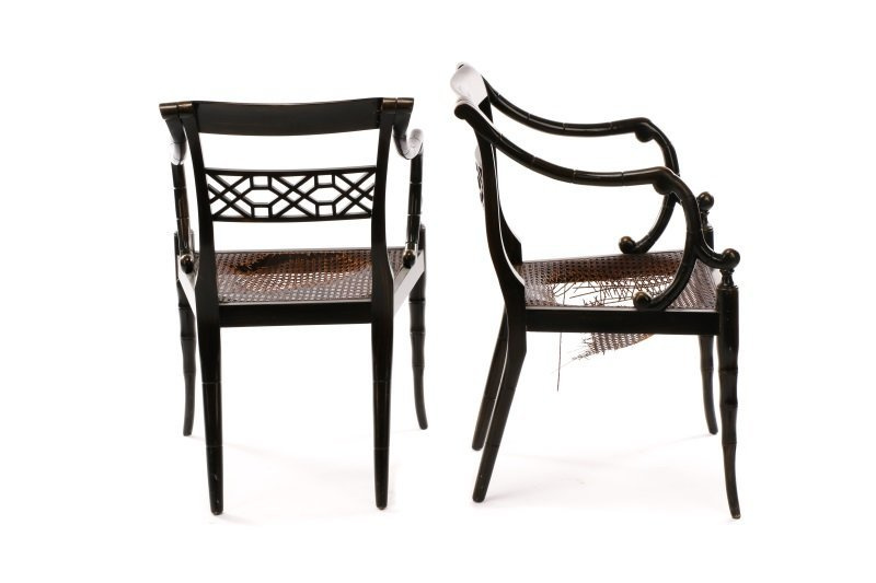 Pair of Regency Style Open Armchairs - 5