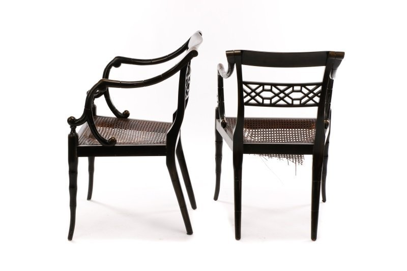 Pair of Regency Style Open Armchairs - 6