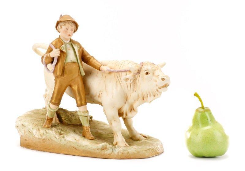 Royal Dux Porcelain Figural Group, Boy with Bull - 10