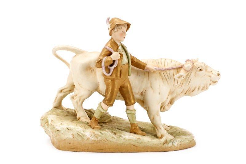 Royal Dux Porcelain Figural Group, Boy with Bull