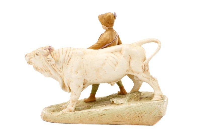 Royal Dux Porcelain Figural Group, Boy with Bull - 2