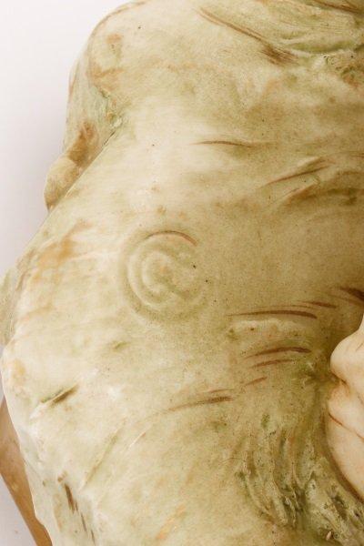 Royal Dux Porcelain Figural Group, Boy with Bull - 4