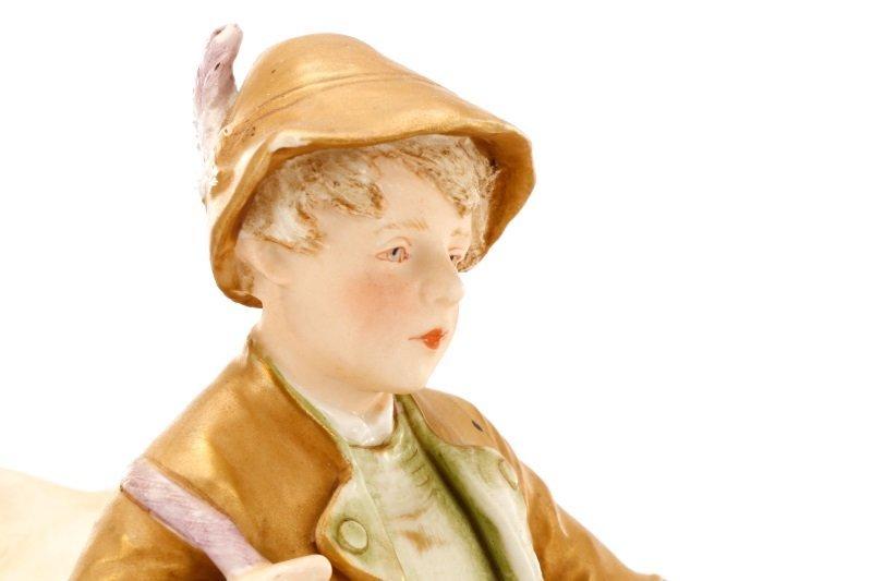 Royal Dux Porcelain Figural Group, Boy with Bull - 5