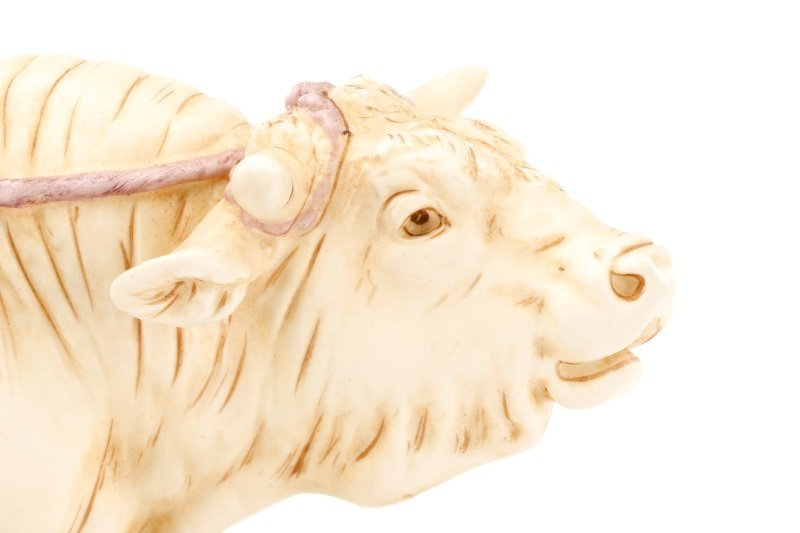 Royal Dux Porcelain Figural Group, Boy with Bull - 6