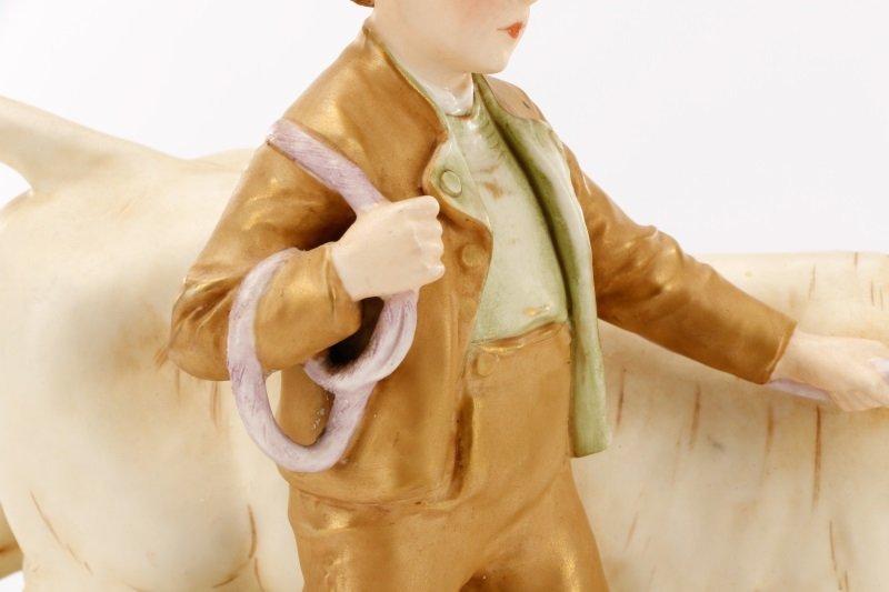 Royal Dux Porcelain Figural Group, Boy with Bull - 7