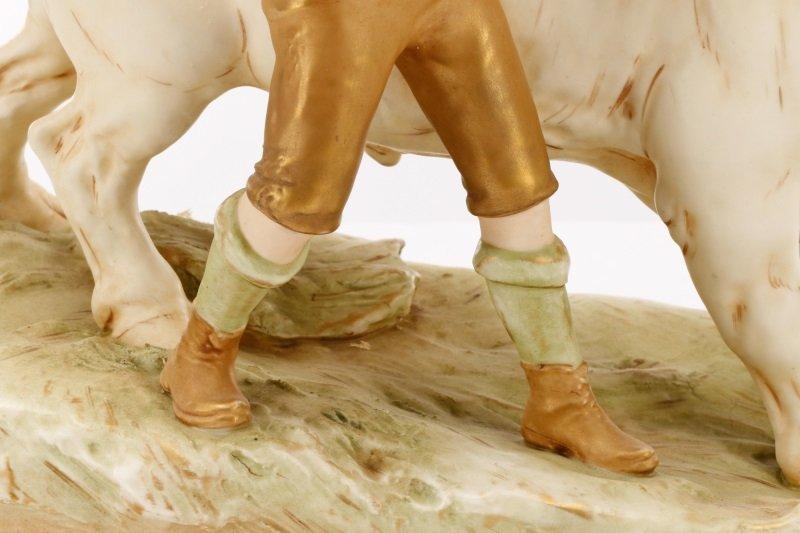 Royal Dux Porcelain Figural Group, Boy with Bull - 8