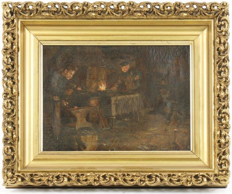 """Old Blacksmith Shop"" F. Precht, 1907 Signed Oil"