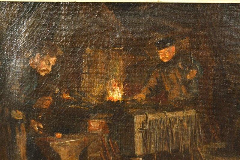"""Old Blacksmith Shop"" F. Precht, 1907 Signed Oil - 2"