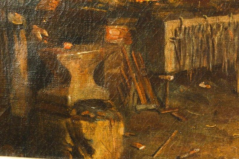 """Old Blacksmith Shop"" F. Precht, 1907 Signed Oil - 3"