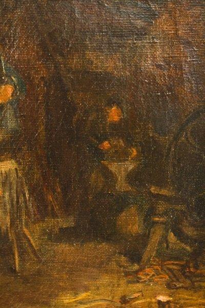"""Old Blacksmith Shop"" F. Precht, 1907 Signed Oil - 5"