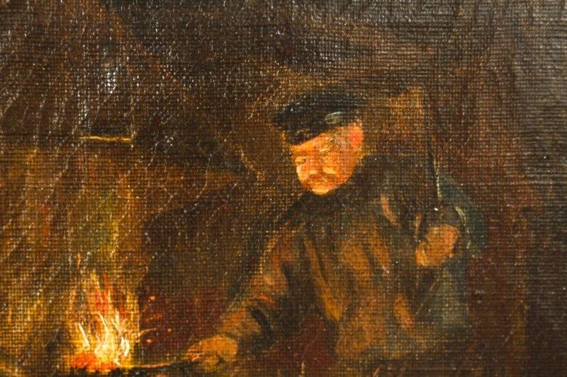 """Old Blacksmith Shop"" F. Precht, 1907 Signed Oil - 6"