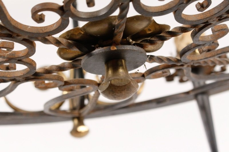 French Bronze & Iron 6 Light Chandelier - 7