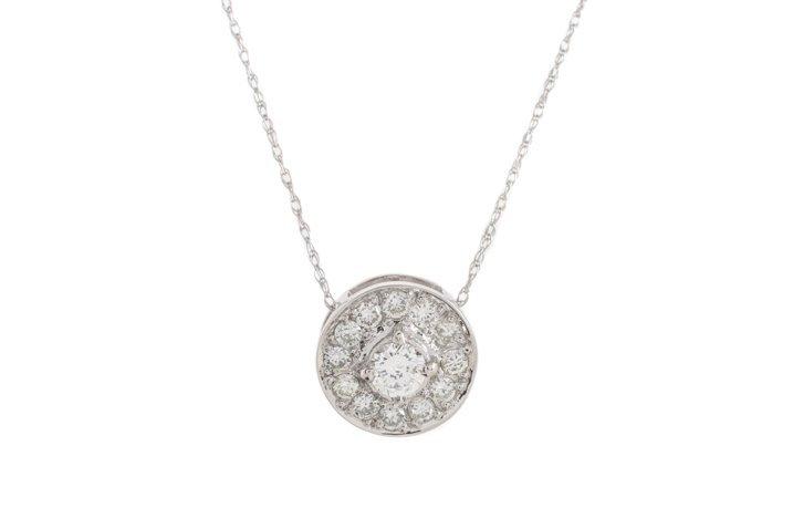 Ladies 14K WG & Diamond Round Pendant Necklace