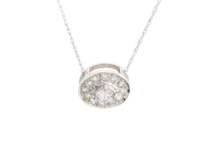 Ladies 14K WG & Diamond Round Pendant Necklace - 2